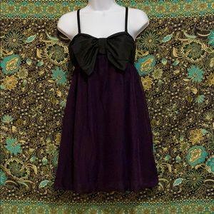 Xhilaration Medium Black Bow Purple Mini Dress